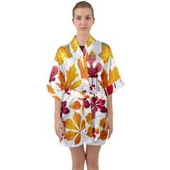 Beautiful Autumn Leaves Vector Quarter Sleeve Kimono Robe by Nexatart