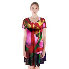 Red Cross 6 Short Sleeve V-neck Flare Dress by bestdesignintheworld