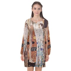 The Three Ages Of Woman  Gustav Klimt Long Sleeve Chiffon Shift Dress  by Valentinaart