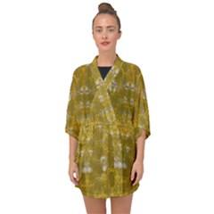 Golden Stars In Modern Renaissance Style Half Sleeve Chiffon Kimono
