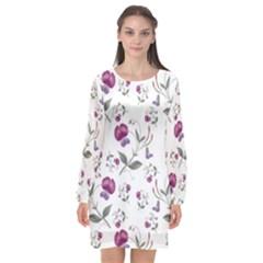 Floral Wallpaper Pattern Seamless Long Sleeve Chiffon Shift Dress  by goodart