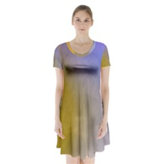 Abstract Smooth Background Short Sleeve V Neck Flare Dress by Modern2018