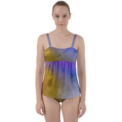 Abstract Smooth Background Twist Front Tankini Set by Modern2018