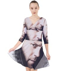 A Tribute To Jason Statham Quarter Sleeve Front Wrap Dress by Naumovski