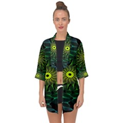 Abstract Ribbon Green Blue Hues Open Front Chiffon Kimono by Simbadda