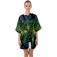 Abstract Ribbon Green Blue Hues Quarter Sleeve Kimono Robe by Simbadda
