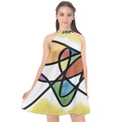 Abstract Art Colorful Halter Neckline Chiffon Dress  by Modern2018