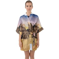Ancient Archeology Architecture Quarter Sleeve Kimono Robe by Modern2018