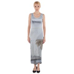 Feather Brown Gray White Natural Photography Elegant Fitted Maxi Dress by yoursparklingshop