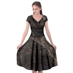 Marble Tiles Rock Stone Statues Cap Sleeve Wrap Front Dress by Simbadda