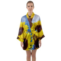 Sunflower Floral Yellow Blue Sky Flowers Photography Long Sleeve Kimono Robe by yoursparklingshop