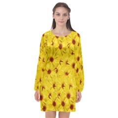 Yellow Flowers Long Sleeve Chiffon Shift Dress  by girleyjanedesigns