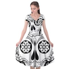 Sugar Skull Cap Sleeve Wrap Front Dress