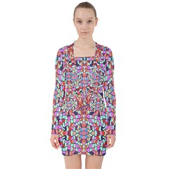 Artwork By Patrick Colorful 38 V Neck Bodycon Long Sleeve Dress by ArtworkByPatrick