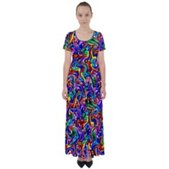 Artwork By Patrick Colorful 39 High Waist Short Sleeve Maxi Dress by ArtworkByPatrick