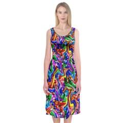 Artwork By Patrick Colorful 39 Midi Sleeveless Dress by ArtworkByPatrick