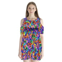 Artwork By Patrick Colorful 39 Shoulder Cutout Velvet One Piece by ArtworkByPatrick