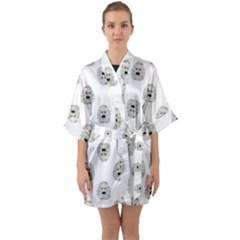 Angry Theater Mask Pattern Quarter Sleeve Kimono Robe by dflcprints