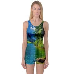 Beautiful Nature Lake One Piece Boyleg Swimsuit by Modern2018
