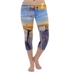 Sunset Lake Beautiful Nature Capri Yoga Leggings by Modern2018