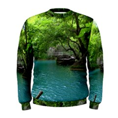 Backgrounds List Of Lake Background Beautiful Waterfalls Nature Men s Sweatshirt by Modern2018