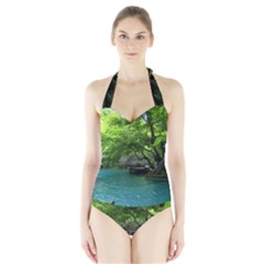 Backgrounds List Of Lake Background Beautiful Waterfalls Nature Halter Swimsuit by Modern2018