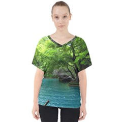 Backgrounds List Of Lake Background Beautiful Waterfalls Nature V-neck Dolman Drape Top by Modern2018