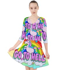 Go To Hell   Unicorn Quarter Sleeve Front Wrap Dress by Valentinaart