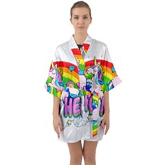 Go To Hell   Unicorn Quarter Sleeve Kimono Robe by Valentinaart