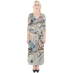 Composition 8   Vasily Kandinsky Quarter Sleeve Wrap Maxi Dress by Valentinaart