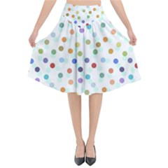 Dotted Pattern Background Brown Flared Midi Skirt by Modern2018
