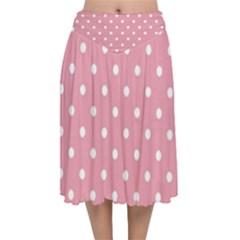 Pink Polka Dot Background Velvet Flared Midi Skirt by Modern2018