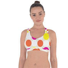 Polka Dots Background Colorful Cross String Back Sports Bra by Modern2018