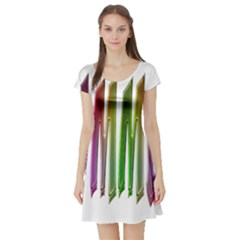 Summer Colorful Rainbow Typography Short Sleeve Skater Dress by yoursparklingshop