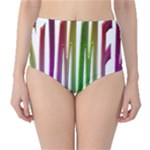 Summer Colorful Rainbow Typography Classic High-Waist Bikini Bottoms