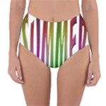 Summer Colorful Rainbow Typography Reversible High-Waist Bikini Bottoms