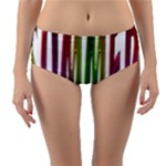 Summer Colorful Rainbow Typography Reversible Mid-Waist Bikini Bottoms