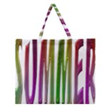 Summer Colorful Rainbow Typography Zipper Large Tote Bag