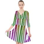 Summer Colorful Rainbow Typography Quarter Sleeve Front Wrap Dress