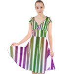 Summer Colorful Rainbow Typography Cap Sleeve Front Wrap Midi Dress