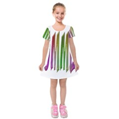 Summer Colorful Rainbow Typography Kids  Short Sleeve Velvet Dress by yoursparklingshop