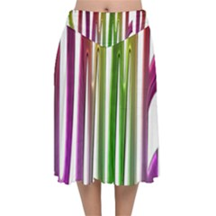 Summer Colorful Rainbow Typography Velvet Flared Midi Skirt by yoursparklingshop