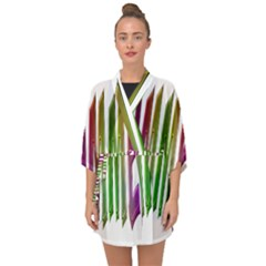 Summer Colorful Rainbow Typography Half Sleeve Chiffon Kimono by yoursparklingshop