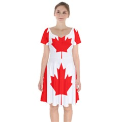 Flag Of Canada Short Sleeve Bardot Dress by goodart