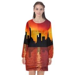 Skyline New York City Sunset Dusk Long Sleeve Chiffon Shift Dress  by Simbadda