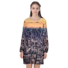 New York Skyline Architecture Nyc Long Sleeve Chiffon Shift Dress  by Simbadda