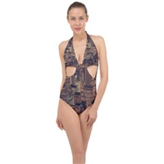 New York City Skyline Nyc Halter Front Plunge Swimsuit by Simbadda
