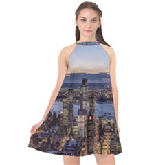 Panoramic City Water Travel Halter Neckline Chiffon Dress  by Simbadda