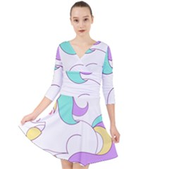 Pastel Unicorn Vector Clipart Quarter Sleeve Front Wrap Dress by goodart