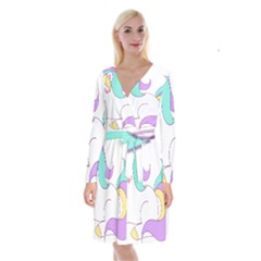 Pastel Unicorn Vector Clipart Long Sleeve Velvet Front Wrap Dress by goodart